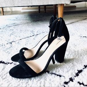 Black suede block heels 💕